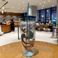 Hot Starbucks Limited Goddess Double Glass Straw Water Cup Anniversary Mermaid