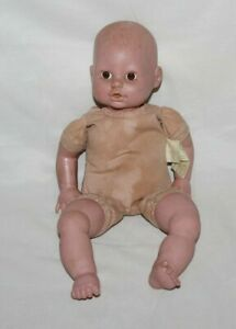 "2001 Cititoy Baby Doll Brown Eyes LifeLike Soft Body Toy Realistic 14"" CUTE HTF"