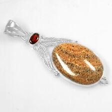 925 Plata de Ley Natural Jaspe Rojo Granate Colgante SVP1800