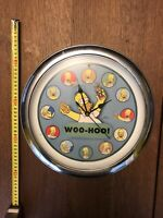 The Simpsons Homer Retro Wall Clock 2004 Woo-Hoo Chrome Rim- Marge, Duff, Fox