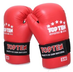 TOP TEN Sport Karate Superfight 3000 RED White Open Hand LEATHER Gloves Punches