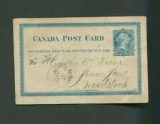 Canada Queen Victoria postal stationery used Canada 1876
