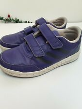 Boys Adidas Trainers Purple Sticky Strap Ons Size 13