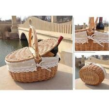 Vintage Wooden Wicker Picnic Basket Shopping Hamper Camping Storage w Lid Handl