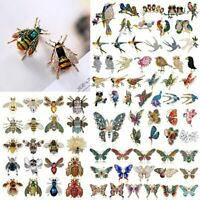 Wedding Crystal Pearl Bee Bird Butterfly Animal Brooch Pin Women Costume Jewelry