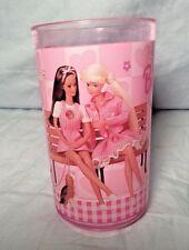 "Vintage Zak Designs Pink Plastic Barbie Doll On Bench Cup 4 1/4"""