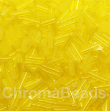 50g glass bugle beads - Yellow Transparent - approx 6mm tubes, jewellery making