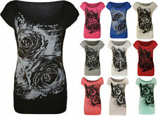 Viscose Floral Regular Size Graphic T-Shirts for Women