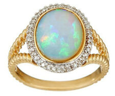 18k Yellow Gold Filled Fire Opal Gem Rings Wedding Jewellery For Ladies#6-10