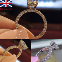 UK White Sapphire&Ruby Claw Wedding Ring  White&Yellow Gold Filled Size6-10