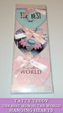 BEST MUM nel mondo Tatty Teddy Appeso Placca 3 CUORI PINK RIBBON