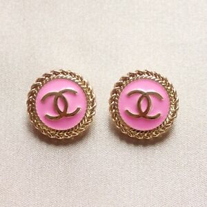 Set of 2 Chanel Buttons 20mm, Pink, Gold, Enamel, Stamped