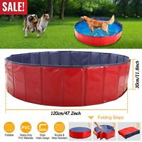 "63"" 48"" Large Dog Puppy Pool Pet Bath Swimming Pool Foldable Paddling Bathing US"