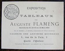 FLAMENG AUGUSTE, carte d'entree, exposition galerie des artistes modernes,1891