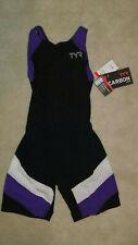 TYR Carbon Aero Back Short John - Black/Purple/White - Female size Small