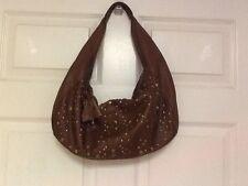ladies handbag Alfani leather hobo brown studded shoulder strap tote purse H12