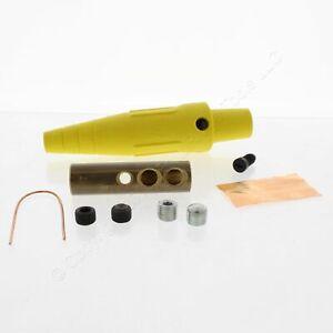 Leviton Yellow 16 Series Detachable Female Cam Plug 600V Dual Set Screw 16D45-Y