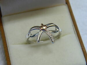 Clogau Sterling Silver & 9ct Rose Gold Tree of Life Bow Ring RRP £119.00 size L