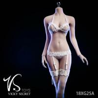 """1/6 Scale 18XG25 White Lace Sling Stockings Clothes Suit F12"""" Female Action Doll"""