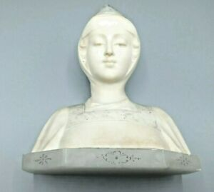 Antique Italian Alabaster Hand Carved Bust of Woman Signed Teli  Masi in  VGUC