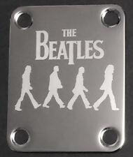 Engraved Photo Etched GUITAR NECK PLATE - THE BEATLES Abbey Road - Chrome