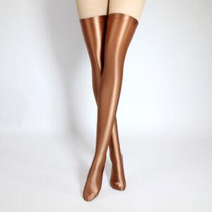 2021NEW Color Women Glossy Stocking Spandex Stretch Shiny Satin Thigh High Sock