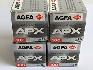 4x Agfa APX 100 Professional ISO 100 35mm 36-exp Black & White Films Agfapan