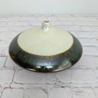 Vintage Ceramic Atomic Bud Vase Retro 2 Tone Glaze Crackle Opalescent Neutral