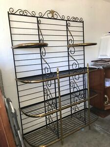 Wrought Iron & Brass French Bakers Rack