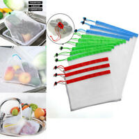 15 Pack Reusable Produce Bags Black Rope Mesh Vegetable Fruit Toys Storage Pouch