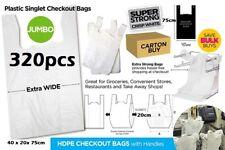 200pcs Plastic Singlet Shopping Carry Checkout Bag X Large 35cmx18cmx65cm White