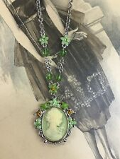 Vtg Cameo Pendant Necklace Victorian Art Deco Reproduction Green Beads, Enameled