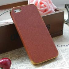 iPhone 5 5S Case Cover Luxury Leather Frame Chrome Hard Back Brown Gold