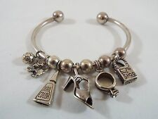 Sterling Silver Slider Cuff Charm Bracelet w/6 Girly Things Charms