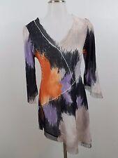 komarov S sheer tunic dress krinkle asymmetrical black orange purple long sleeve