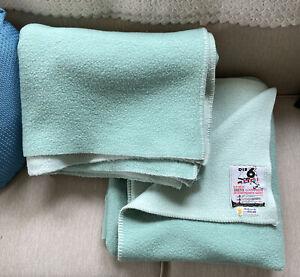 IBENA 2 Matching Throw Blanket Wool/Cotton Blend Reversible Blanket Germany