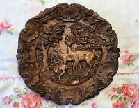 """Vintage Resin Wood-look Carved Deer Fawn Family 3D Plate Wall Hanging Plaque 9"""""""