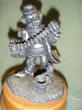 "Pewter Look Resin Hobo Clown Harmonica Playing Music Box ""Send In The Clowns"""