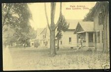 Old NEW LONDON Ohio Postcard PARK Ave Norwalk Huron