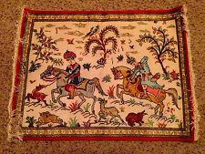 100% Silk hand woven Persian Qom (Qum, Ghom) Signed Ahmadi Hunting Scene Rug