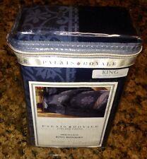"Palais Royale Medallion Blue Damask King Bed Skirt Dust Ruffle - 15"" Drop 310 Tc"