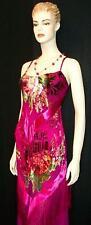 Dress Gown Fringe Flapper Style Burnout Silk Velvet Pink Gypsy Roses Maya M