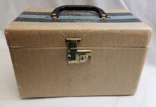 Vintage Train Vanity Make Up Case Tweed Blue Striped Wooden Luggage