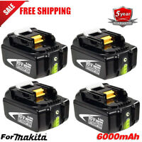 4X18V 6.0Ah LITHIUM ION BATTERY LXT REPLACE For MAKITA BL1860 BL1830 LED Gauge