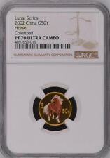 NGC PF70 2002 China Lunar Series Horse 1/10oz Gold Colorized Coin with COA