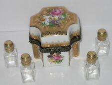 Porzellan Dose Deckeldose mit 4 Parfüm Flakon aus Glas im Antik Stil 6x5cm