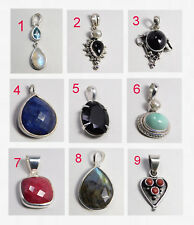 Ruby Sapphire Moonstone Turquoise Pendant 925 Sterling Silver Jewelry MAP1008