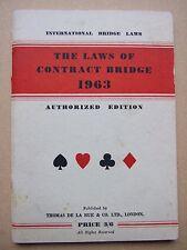 LAWS OF CONTRACT BRIDGE 1963 RULES BOOK VGC PORTLAND CLUB EUROPEAN AMERICAN