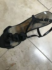 Black Ladies Sandals With Rose Detail - Size 6