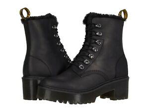 Women's Shoes Dr. Martens LEONA FAUX FUR Leather Platform Boots 26190001 BLACK